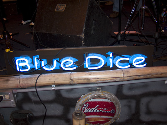 Blue Dice Stage Sign